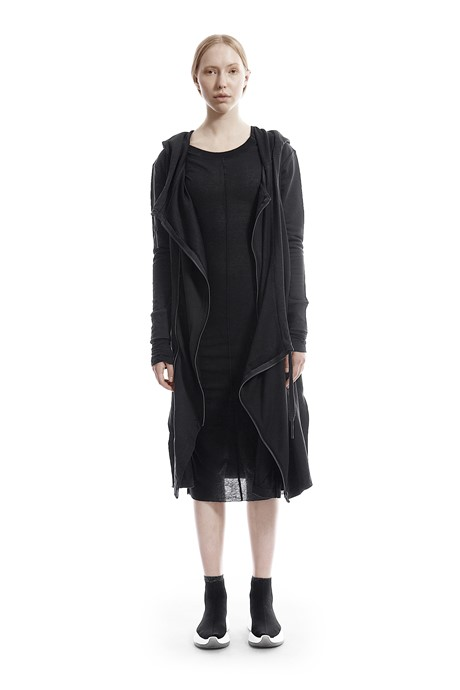 Asymmetric Hooded Cardigan - 716815