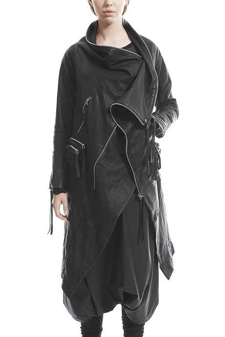 Multizip leather coat - 182231
