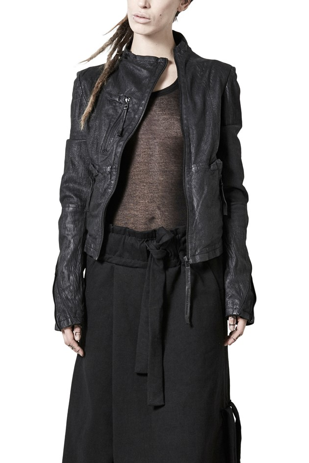 Asymmetric Leather Jacket - 725819